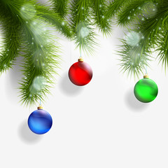 Christmas background with Christmas tree and decorations