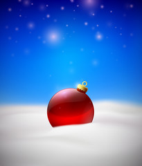 Christmas background with Red Christmas tree ball