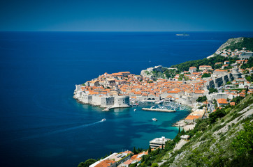 Dubrovnik Old Town on the Adriatic Sea in Croatia, aerial view