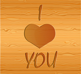 Wood texture with love. Illustration 10 version