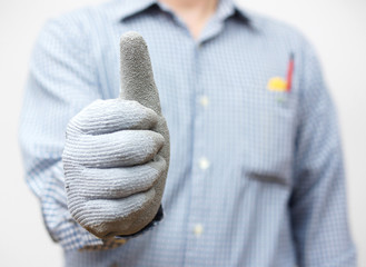 Handyman showing thumbs up sign