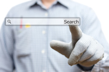 Construction worker pointing with finger on search bar