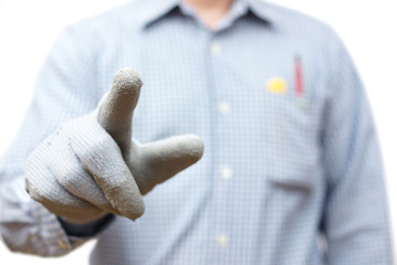 Construction worker pointing with finger. Ready for sample text
