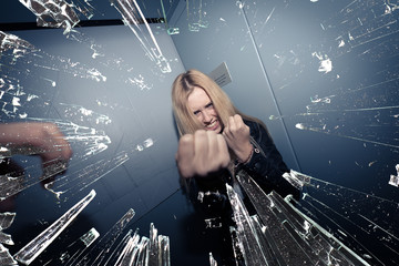 agressive young blond woman