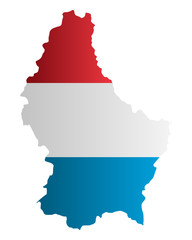Karte und Fahne von Luxemburg
