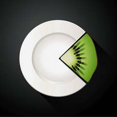 Vector of White Plate and Kiwi Pie Chart Info Graphic