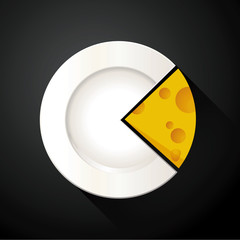 Vector of White Plate and Cheese Pie Chart Info Graphic