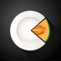 Vector of White Plate and Cantaloupe Pie Chart Info Graphic
