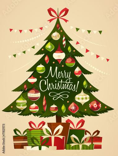 Zdjęcia na płótnie, fototapety, obrazy : Christmas tree with gifts