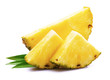 canvas print picture - Ripe pineapple with leaf.