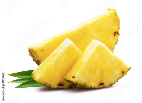 Ripe pineapple with leaf. - 71821540