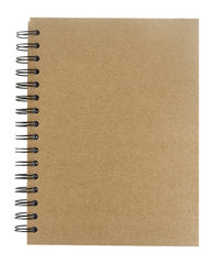 Cover of spiral notebook on white background
