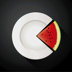 Vector of White Plate and Watermelon Pie Chart Info Graphic