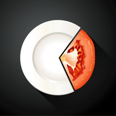 Vector of White Plate and Tomato Pie Chart Info Graphic