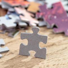 Closeup of Jigsaw Puzzle Piece