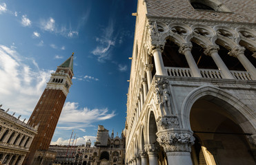 Architectural details of Doge's Palace, Venice, Italy