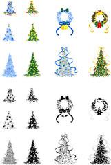 クリスマスツリーとリースのミニイラスト。