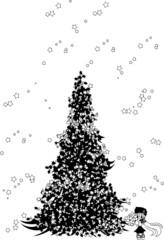 クリスマスツリーと、ポインセチアを持った少女の上に光が降り注ぐ。