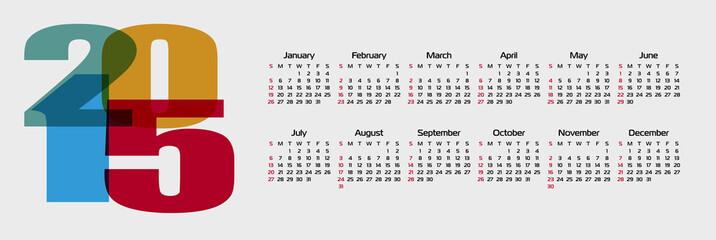Calendar 2015. Vector.