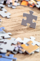 Closeup of Jigsaw Puzzle Piece