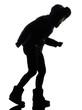woman winter coat walking windy silhouette