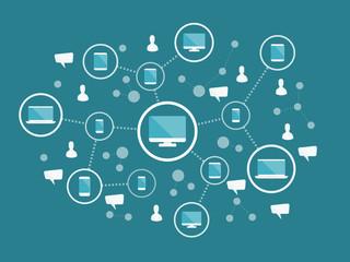 Internet network concept. Flat design web icons