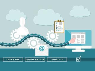 Registration steps concept. Flat design web icons