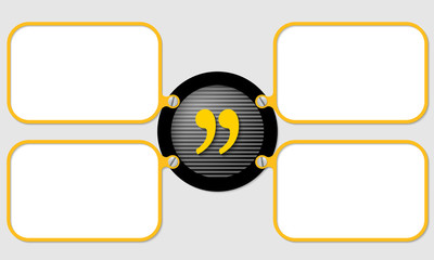 four yellow frame for text with quotation mark