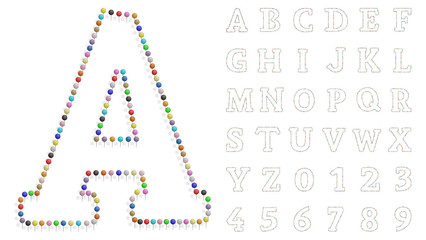 color pushpin letters and numbers