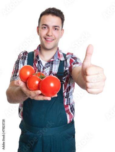 canvas print picture Junger Gärtner mit Tomaten zeigt den Daumen