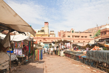Shopping arcade in the city of Jodhpur. Rajasthan, India