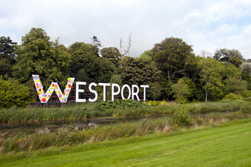 giant Westport town sign