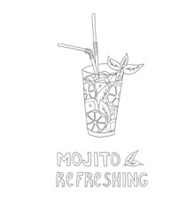 Hand drawn illustration of cocktail. MOJITO.