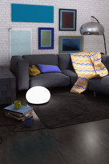 Realistic living room interior render with sofa