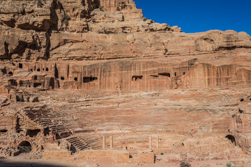 roman theater arena in Nabatean city of  Petra Jordan