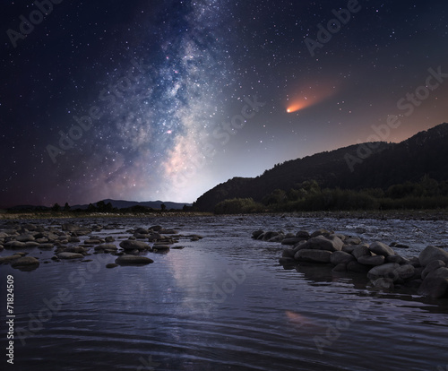 Foto Spatwand Rivier Comet over the night river