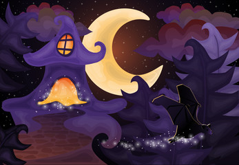 Halloween night wallpaper with haunted house, vector