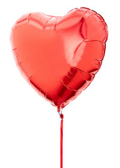 Red heart balloon with ribbon on white, clipping path