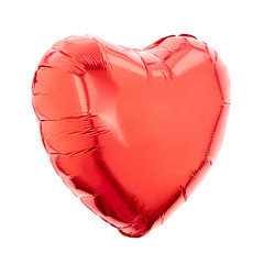 Red heart foil balloon on white, clipping path