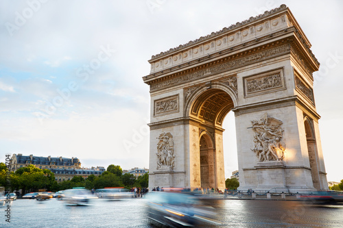 Canvas Europese Plekken Arc de Triomphe in Paris afternoon