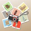 Постер, плакат: Camera with photographs of global landmarks