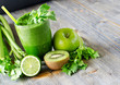 Healthy green smoothie beverage with spinach and celery - 71824966