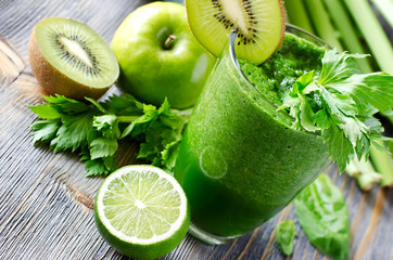 Healthy green smoothie drink with spinach and celery