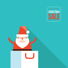 Santa Claus jumping out of shopping bag