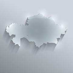 Kazakhstan map glass card paper 3D vector