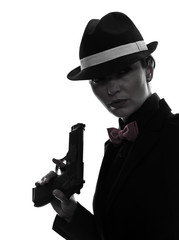 woman gun gangster killer silhouette
