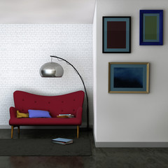 3D rendered image of a living room interior