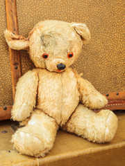 Vintage teddy bear with old suitcases