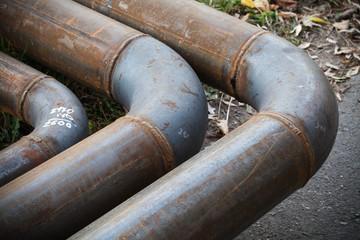 Bend of industrial steel pipeline