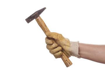 hand with glove and hammer isolated on white
